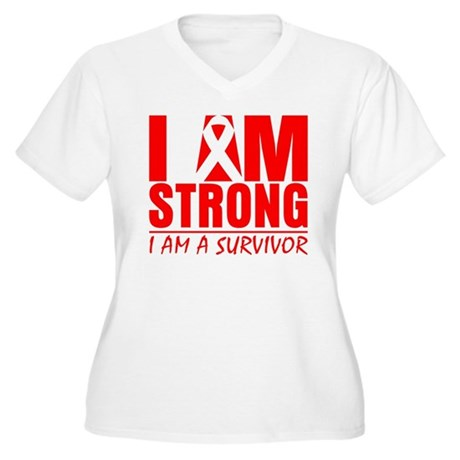 I am Strong Heart Disease Women's Plus Size V-Neck