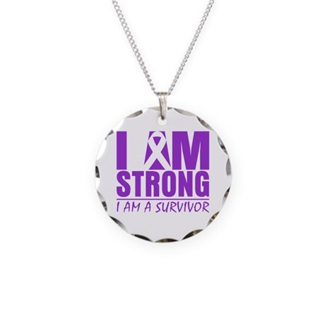 I am Strong Lupus Survivor Necklace Circle Charm