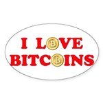 Bitcoins-4 Sticker (Oval 50 pk)