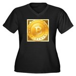 Bitcoins-3 Women's Plus Size V-Neck Dark T-Shirt