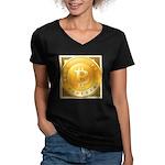 Bitcoins-3 Women's V-Neck Dark T-Shirt