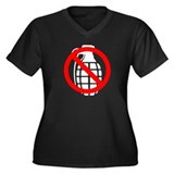 No Grenades Women's Plus Size V-Neck Dark T-Shirt