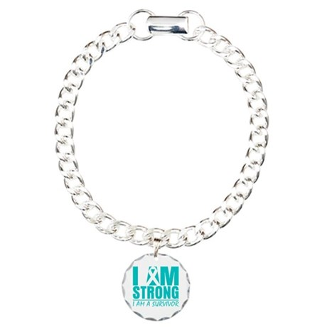 I am Strong Cervical Cancer Charm Bracelet, One Ch