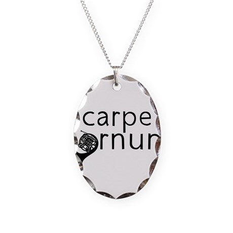 Carpe Hornum Necklace Oval Charm