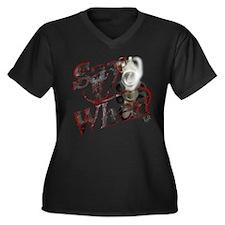 """Say When"" Women's Plus Size V-Neck Dark T-Shirt"