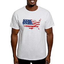 Tattered America Flag Map T-Shirt
