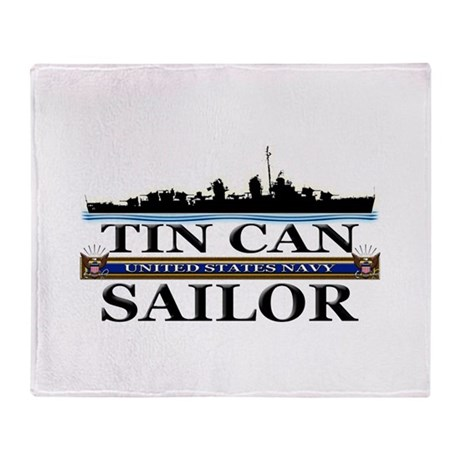 USN Tin Can Sailor Silhouette Throw Blanket