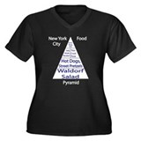 New York Food Women's Plus Sz V-Neck Dark T-Shirt