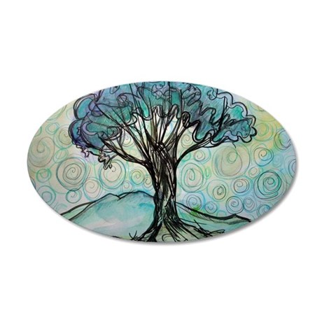 Tree, Colorful, 38.5 x 24.5 Oval Wall Peel