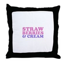 strawberries and cream (pink/ Throw Pillow