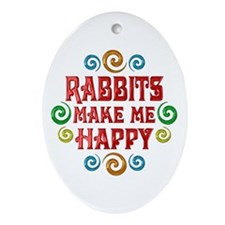 Rabbit Happiness Ornament (Oval)