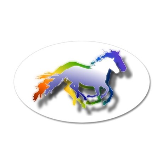 3D Running Horses 22x14 Oval Wall Peel