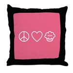 Peace, Love & Vegan Cupcakes Throw Pillow
