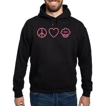 Peace, Love & Vegan Cupcakes Hoodie (dark)