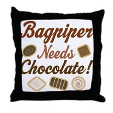 Bagpiper Chocolate Humor Throw Pillow