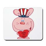 Pink Rabbit Happy 4th July Mousepad