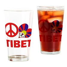 Peace Love Tibet Drinking Glass