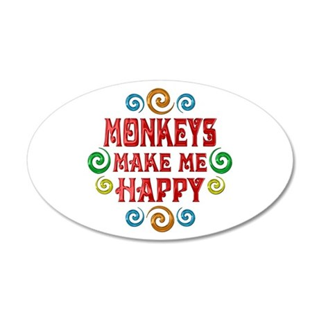 Monkey Happiness 22x14 Oval Wall Peel