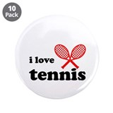 "i love tennis (black/red) 3.5"" Button (10 pack)"