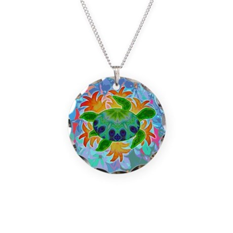 Flame Turtle Necklace Circle Charm