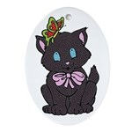 Dotty Cat Ornament (Oval)