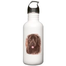 Brown Newfy Portrait Water Bottle
