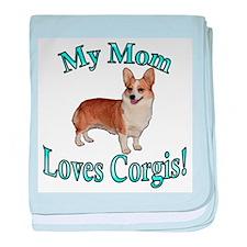 Turquoise Mom Loves Corgis-Do baby blanket
