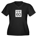 Age Limit 60 Women's Plus Size V-Neck Dark T-Shirt