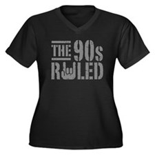 The 90's Ruled Women's Plus Size V-Neck Dark T-Shi