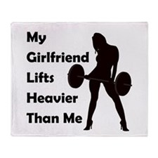 My Girlfriend lifts Throw Blanket