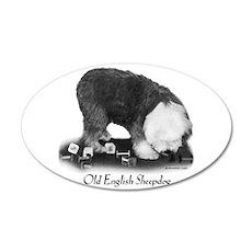 Old English Sheepdog Obedience 35x21 Oval Wall Dec