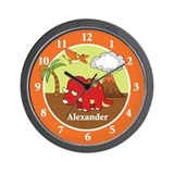 Triceratops Dinosaur Wall Clock - Add a name