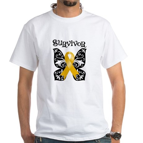 Butterfly Appendix Cancer White T-Shirt