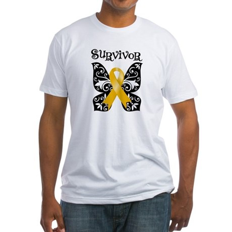 Butterfly Appendix Cancer Fitted T-Shirt
