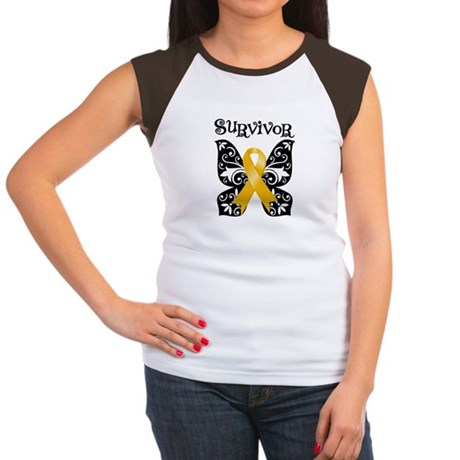 Butterfly Appendix Cancer Women's Cap Sleeve T-Shi