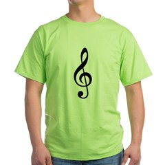 G Clef / Treble Clef Symbol Green T-Shirt