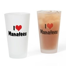 I Love Manatees Pint Glass