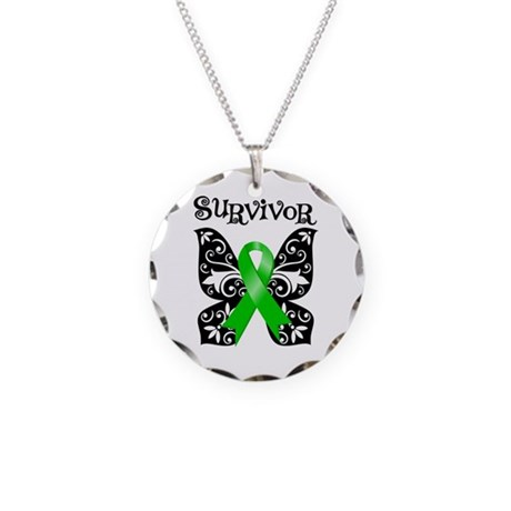 Bile Duct Cancer Butterfly Necklace Circle Charm