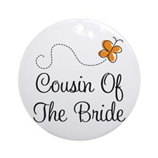 Cousin of the Bride Orange Pretty Ornament (Round)