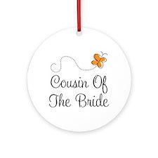 Cousin of the Bride Orange Pretty Ornament (Round)