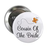 "Cousin of the Bride Orange Pretty 2.25"" Button"