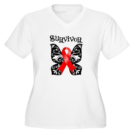 Blood Cancer Butterfly Women's Plus Size V-Neck T-