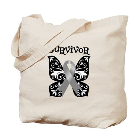 Butterfly Brain Cancer Survivor Tote Bag