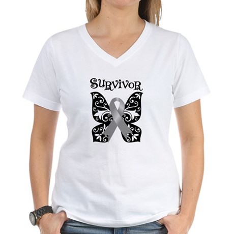 Butterfly Brain Cancer Survivor Women's V-Neck T-S