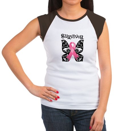 Butterfly Breast Cancer Women's Cap Sleeve T-Shirt