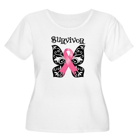 Butterfly Breast Cancer Women's Plus Size Scoop Ne