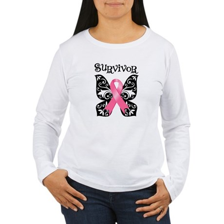 Butterfly Breast Cancer Women's Long Sleeve T-Shir