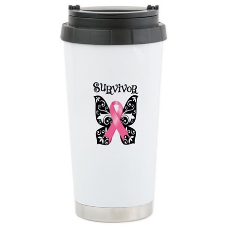 Butterfly Breast Cancer Ceramic Travel Mug