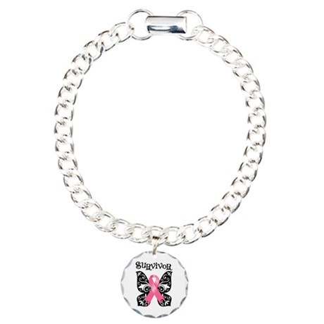 Butterfly Breast Cancer Charm Bracelet, One Charm