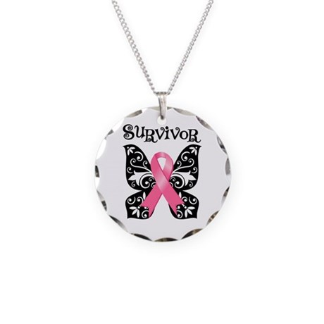 Butterfly Breast Cancer Necklace Circle Charm